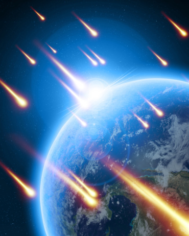 meteor shower on a dark blue background
