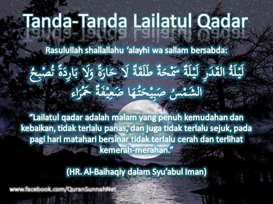 tanda lailatul qadar hadits